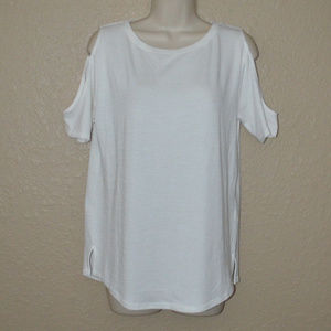 Sz XS Rag & Bone White Cold Shoulder T Shirt Top